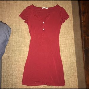 Casual Red Fitted Tee Shirt Dress With Buttons